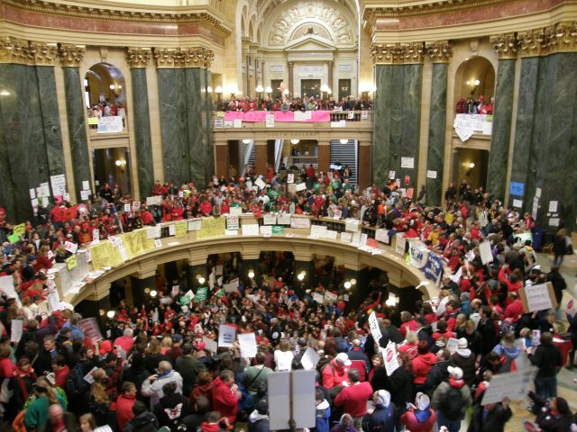 Wall to wall Union supporters inside the Wisconsin State Capitol.